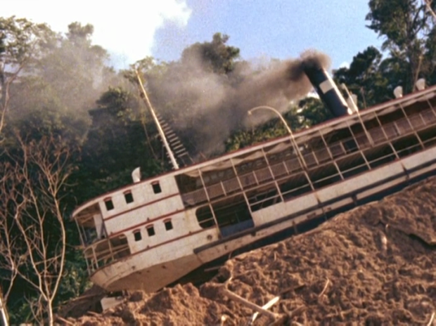 From the documentary 'Burden of Dreams.' Werner Herzog's quest to drag a 320-ton steamboat over a steep hill.
